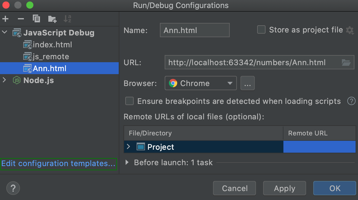 Edit configuration templates