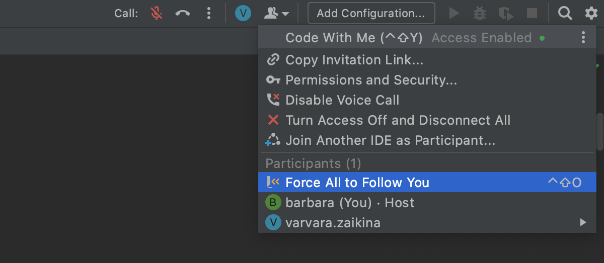 Select Force to Follow You