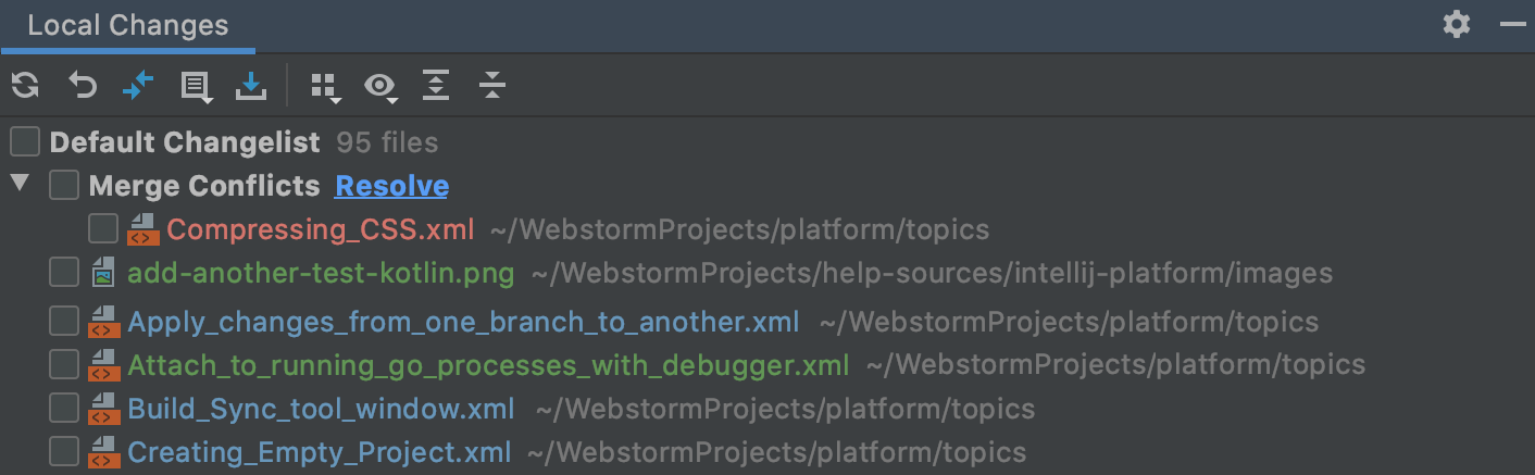 The Merge Conflicts node in the Local Changes view