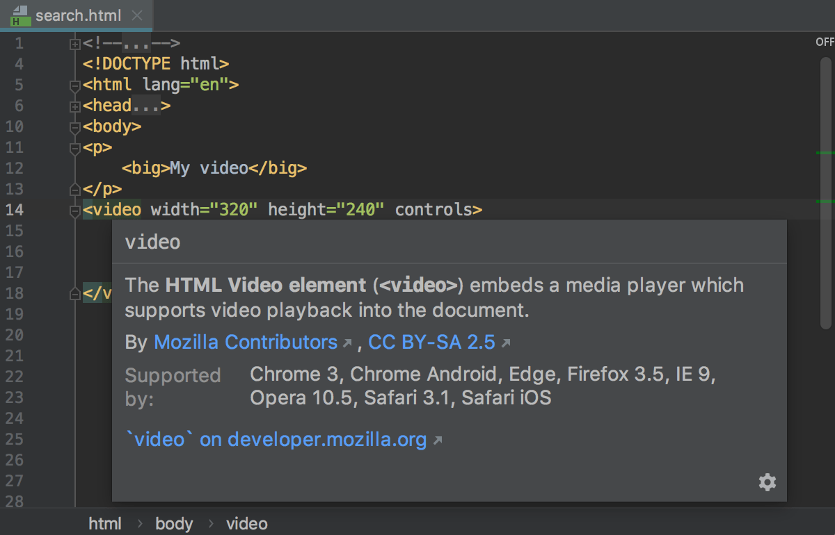 HTML quick documentation: compatible browsers are listed