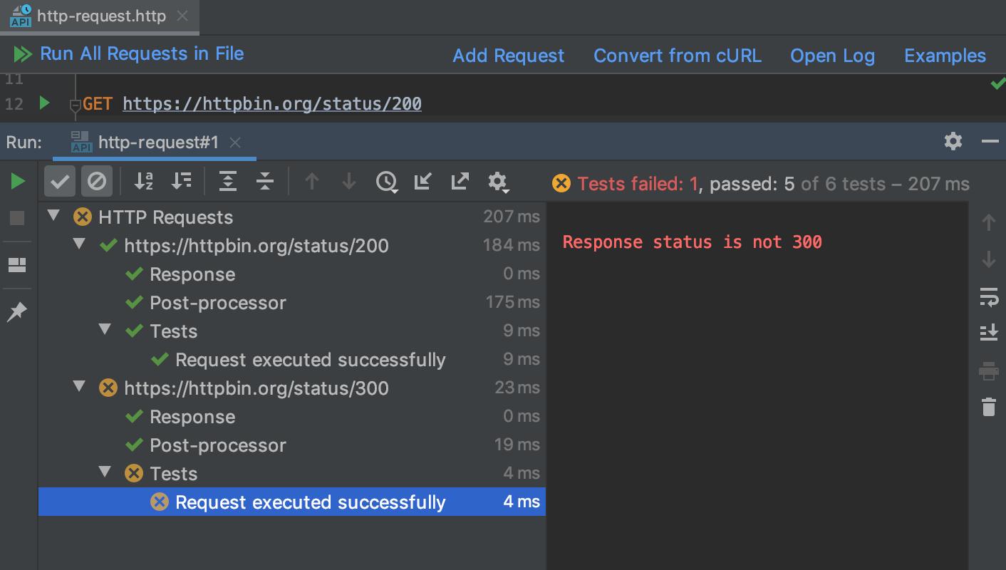 The Tests tab of the Run tool window