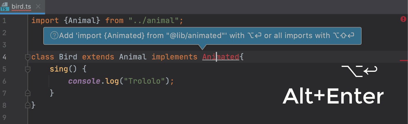 Add import statements using the auto-import tooltip