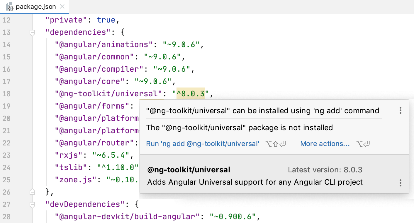 PhpStorm suggests adding a dependency with ng add