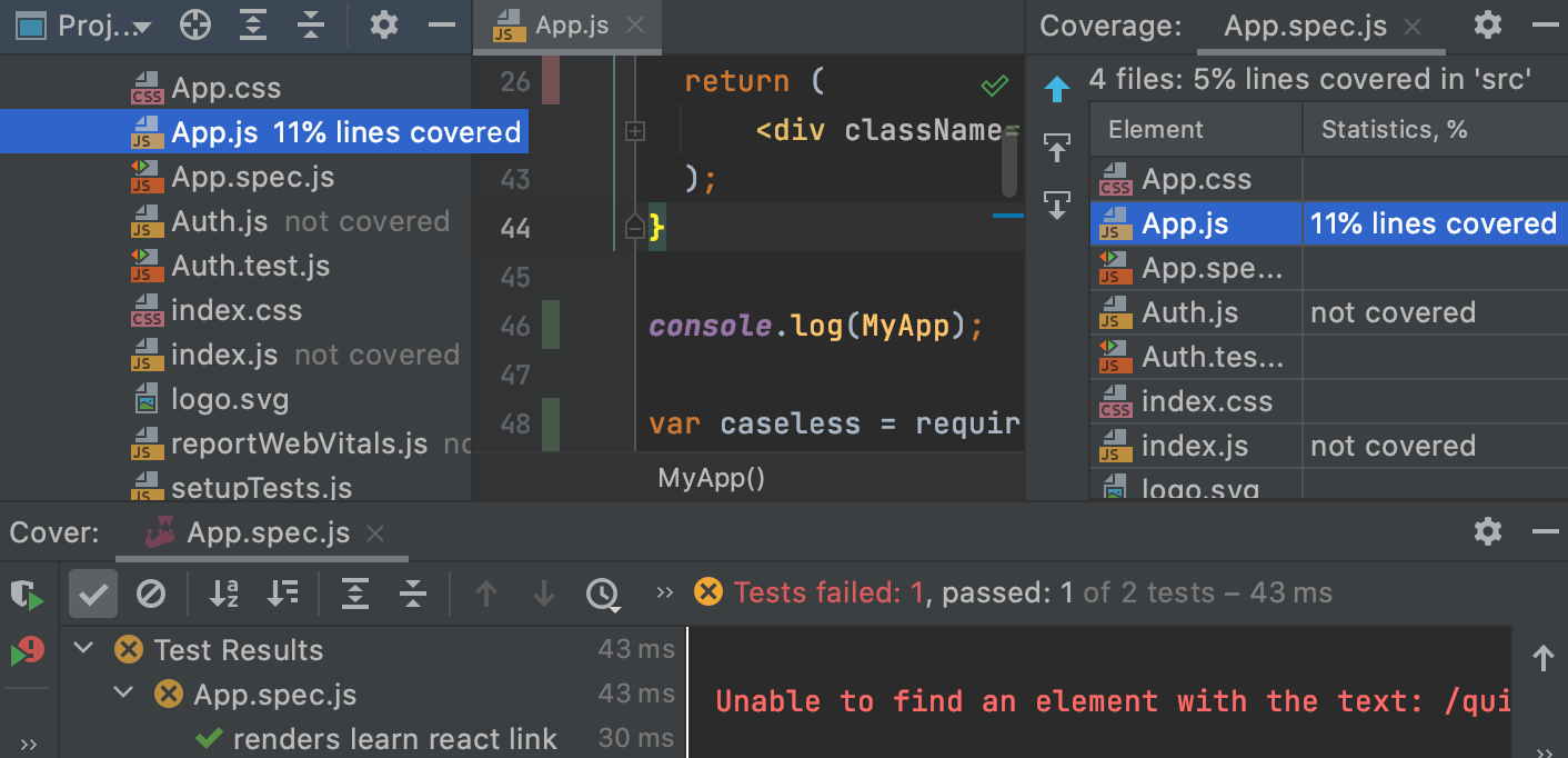 Coverage results in the Coverage tool window, in the editor, and in the Project tool window