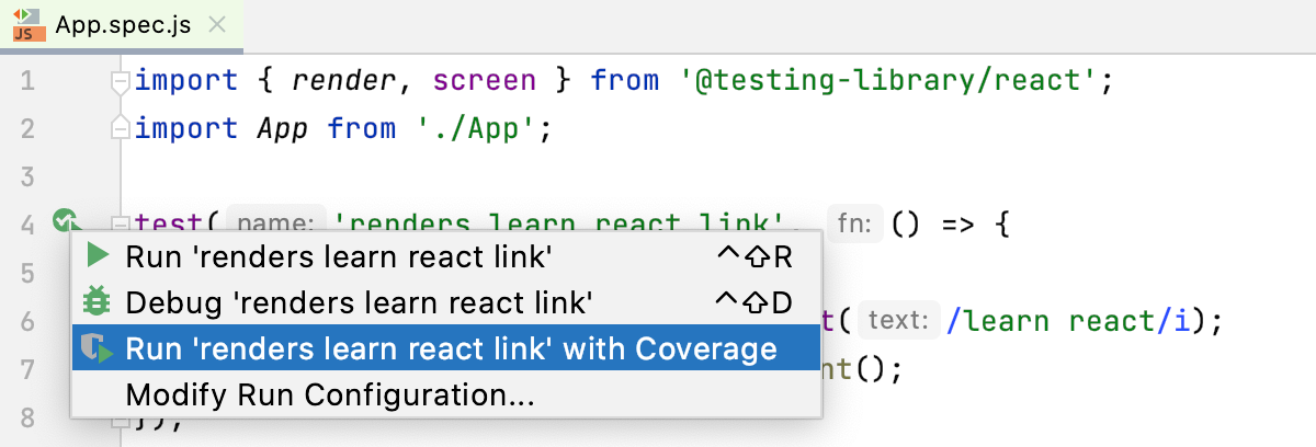 Run Jest tests with coverage from the editor