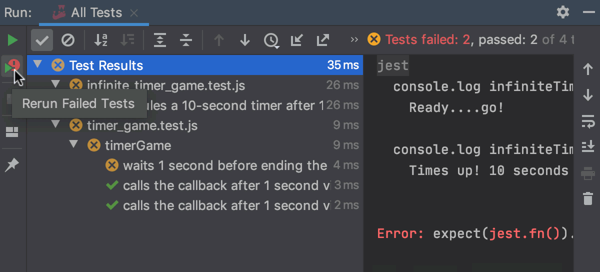 Jest: Rerunning all failed tests