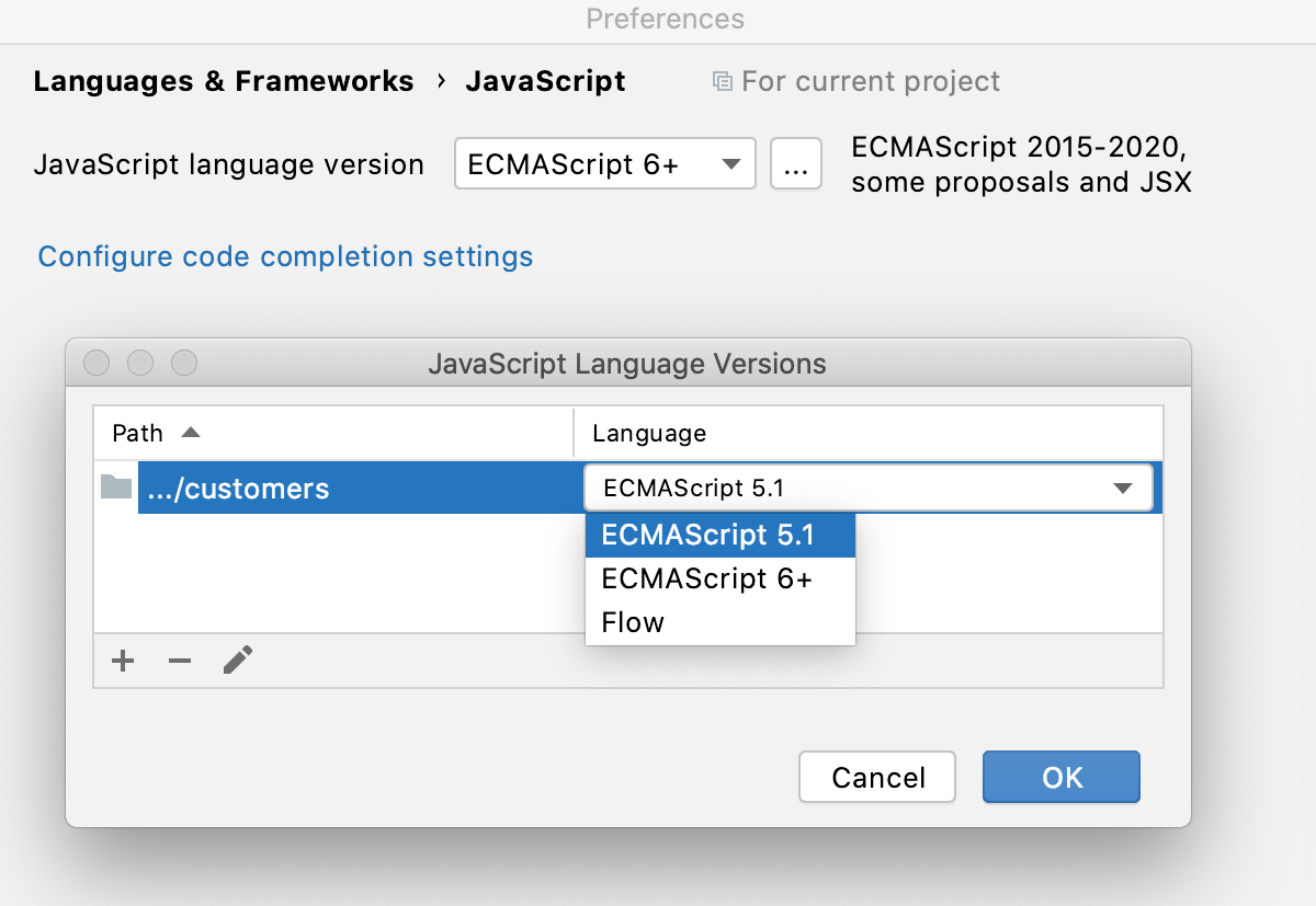 Choose language versions for separate folders