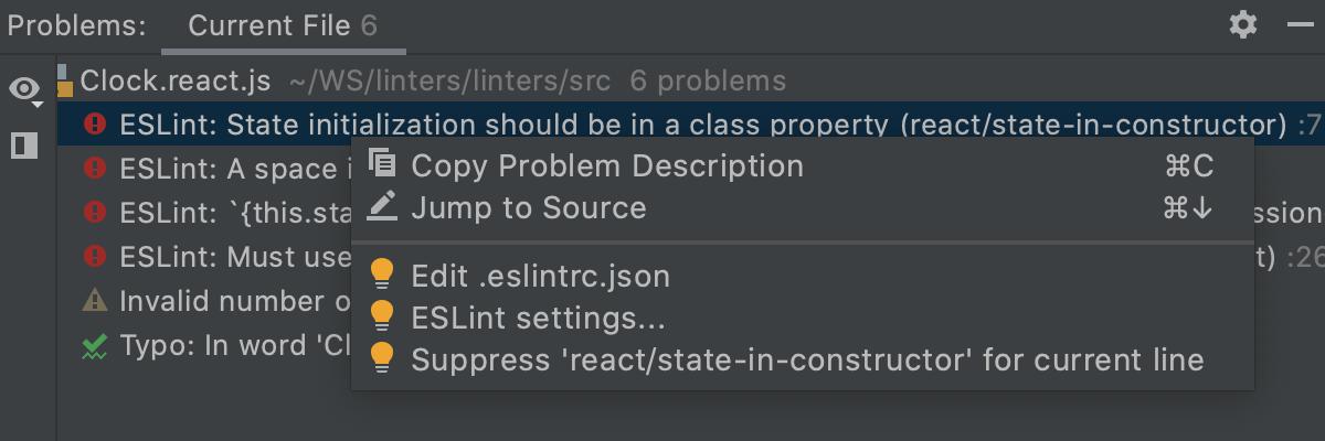 Problems tool window: context menu