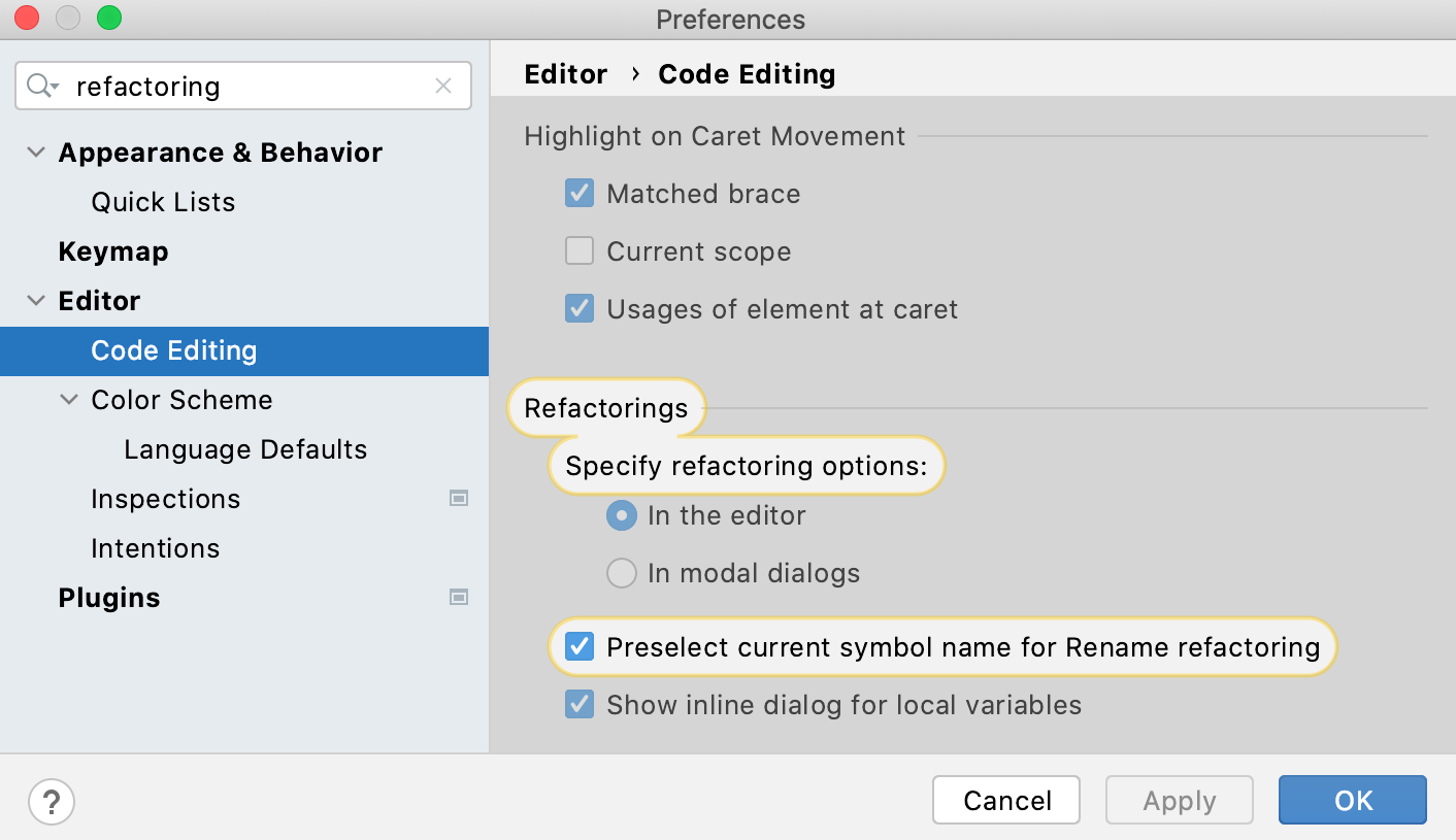 Refactoring settings: open settings in modal dialogs