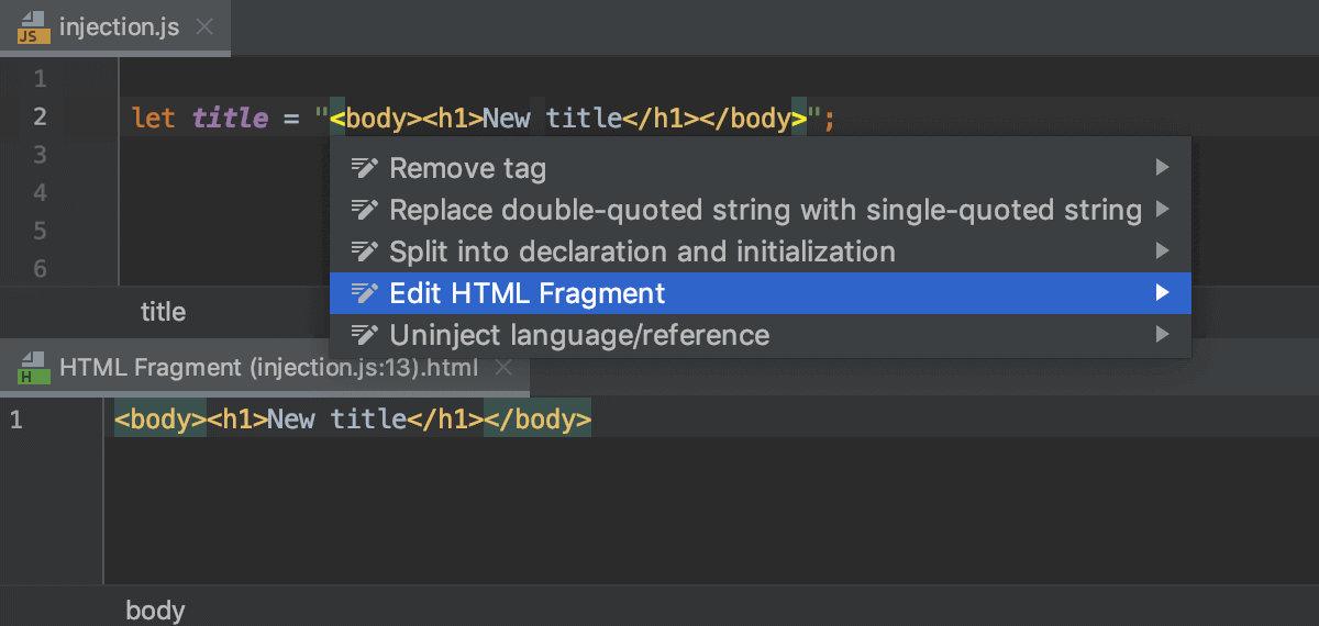Edit the HTML fragment in the dedicated editor