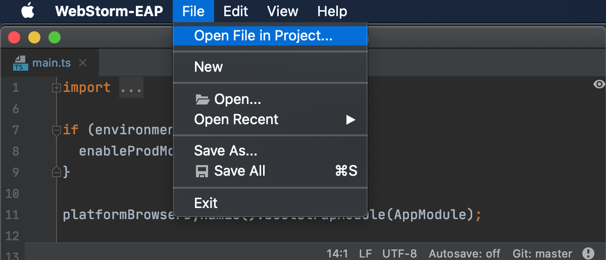 Switch from LightEdit to editing the entire project (File menu)