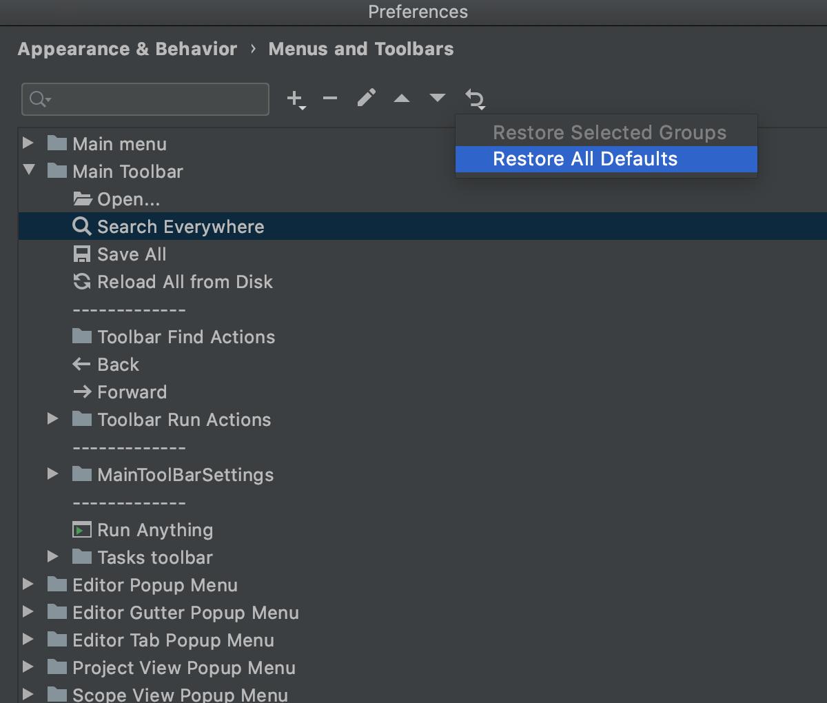 Move a main toolbar option