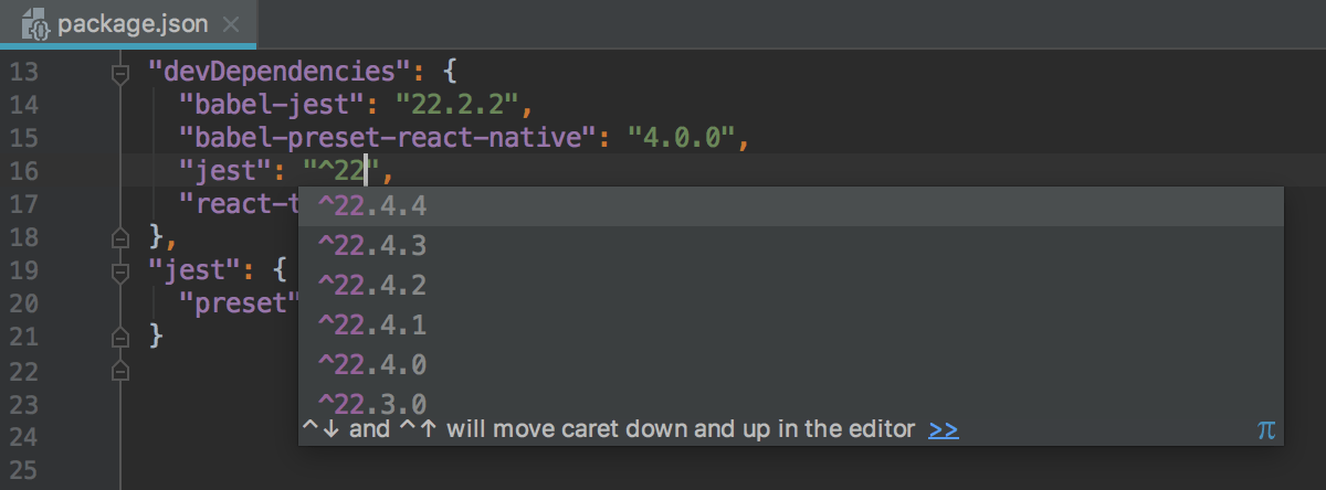 Code completion for previous package versions