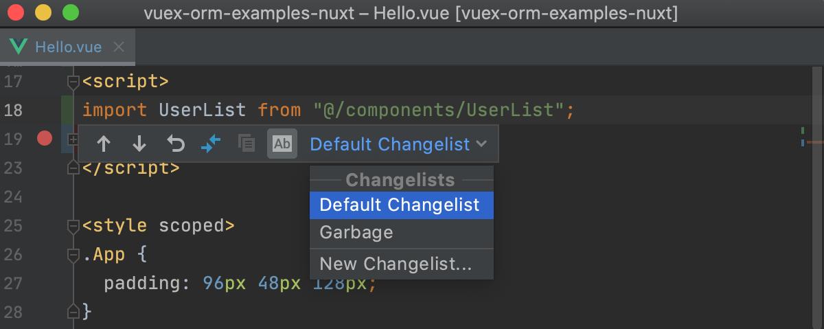 Partial commit changelists