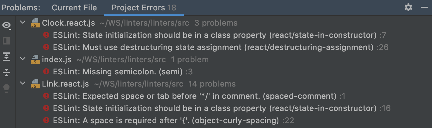 Problems tool window, ESLint. Project Errors tab shows syntax errors in previously opened files across the project