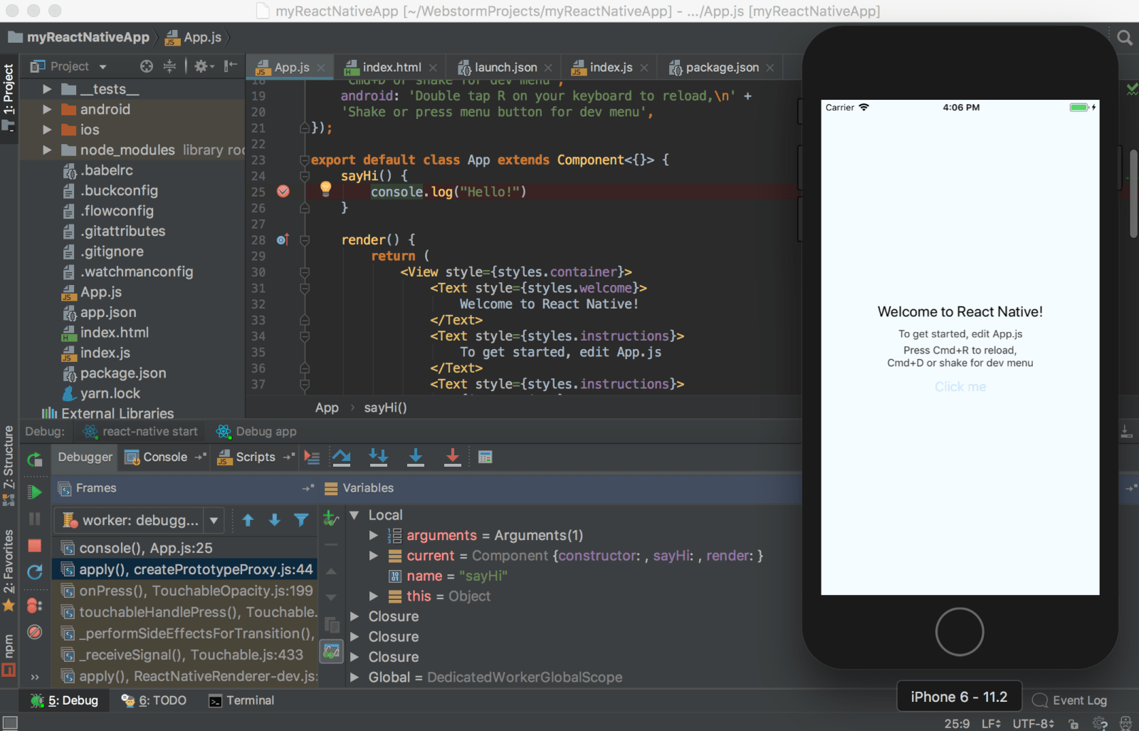 The React Native app is running on the simulator