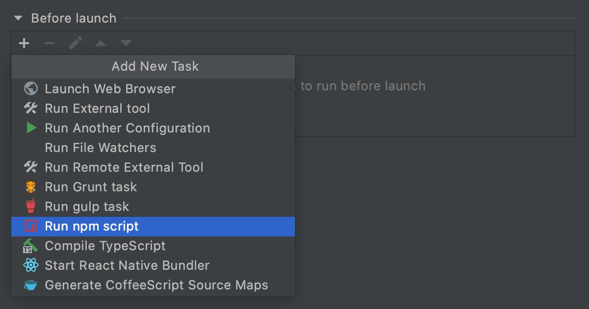 React Native Debug configuration for debugging with Expo: Add Run npm script task