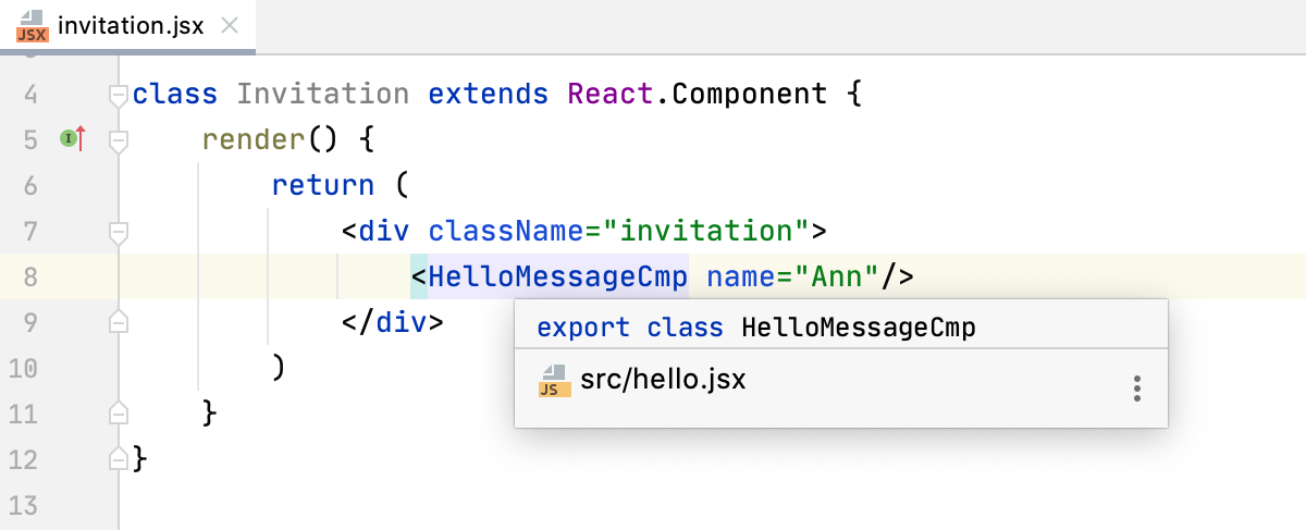 Quick documentation popup for React component
