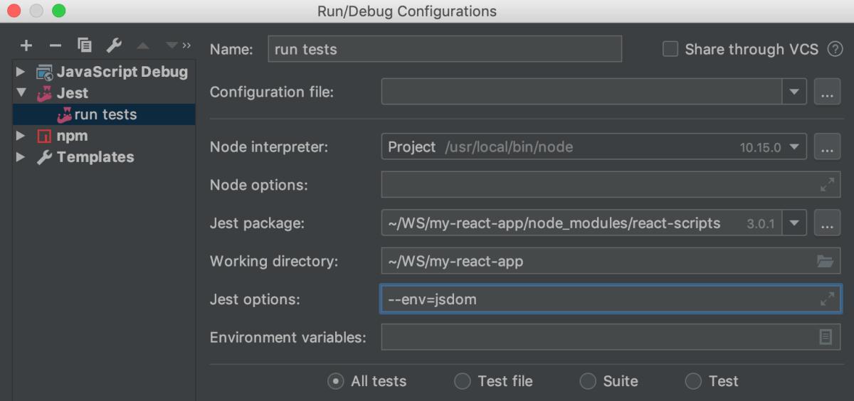 Testing React: Jest run configuration