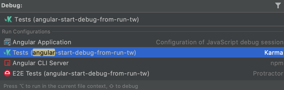 Start run/debug configuration from the Run Anything popup in debug mode