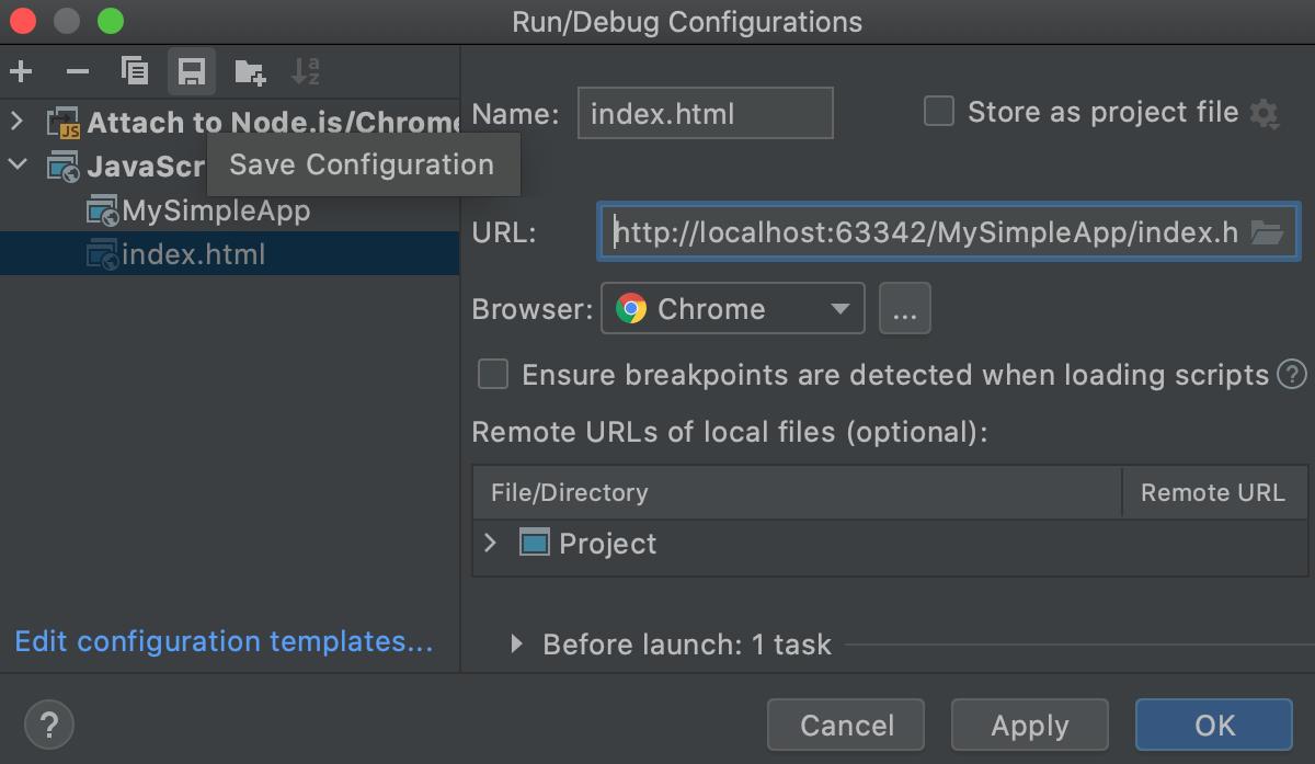 Saving a temporary run configuration in the Editor Configuration dialog
