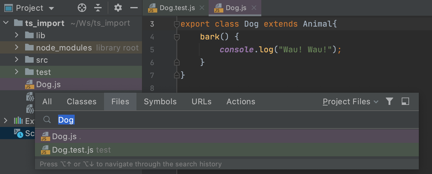 Scope highlighting in the editor tabs and search results