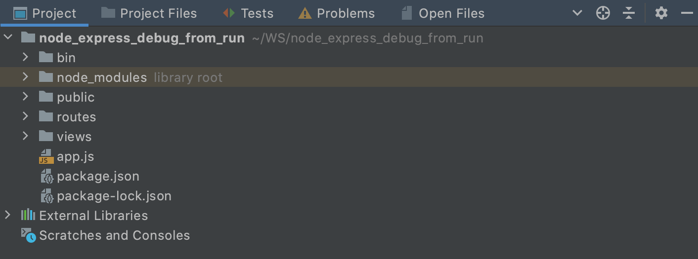 The Project tool window with the Group Tabs option enabled