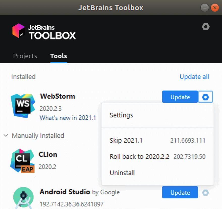 WebStorm in the JetBrains Toolbox App