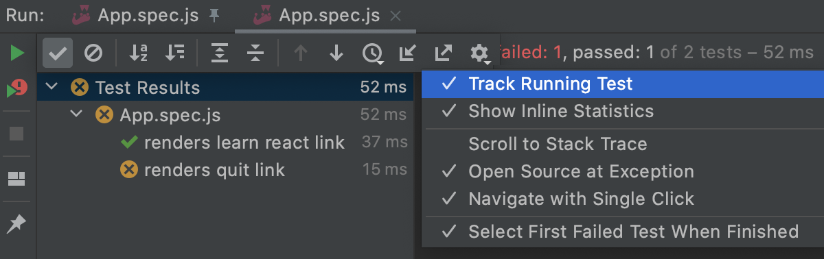 Track test execution