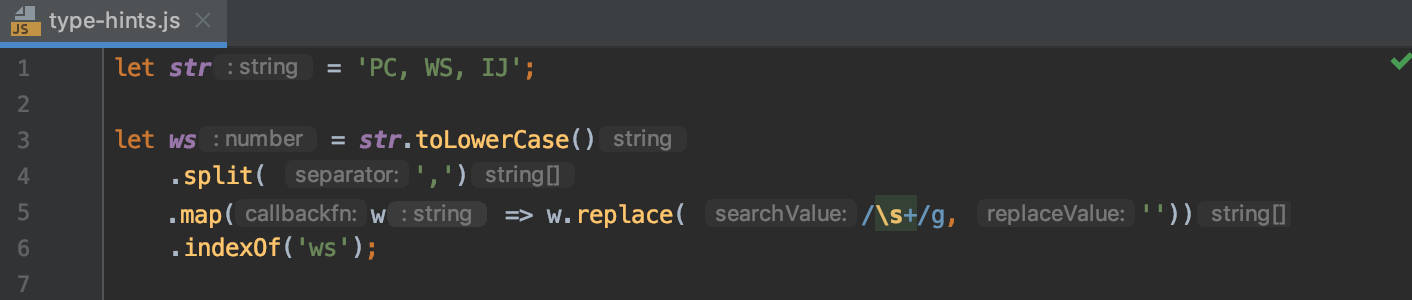 Type hints in JavaScript
