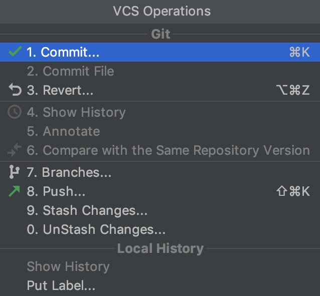 VCS operations popup: a VCS is enabled