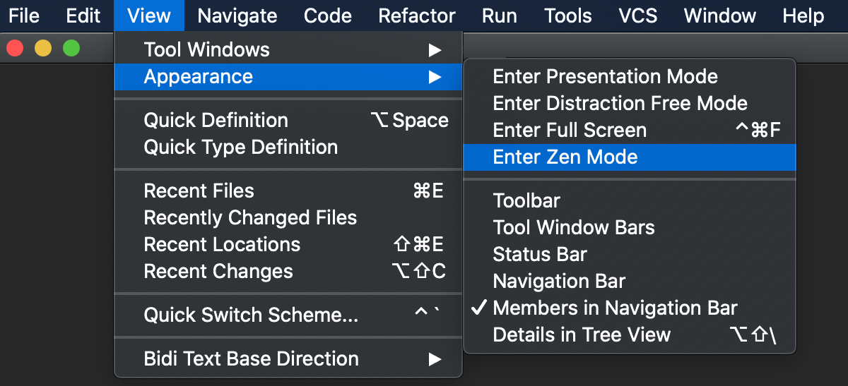 Toggle viewing mode via the main menu