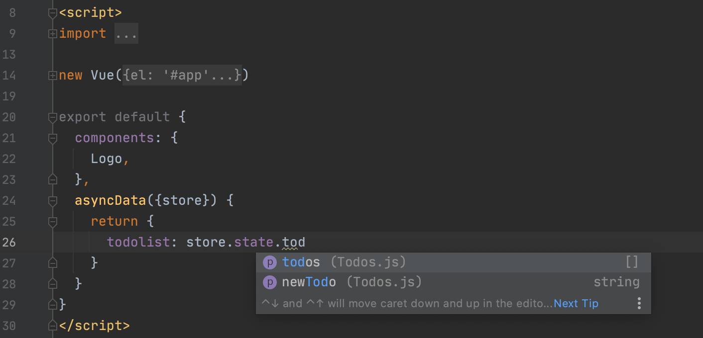 Code completion for Vuex store