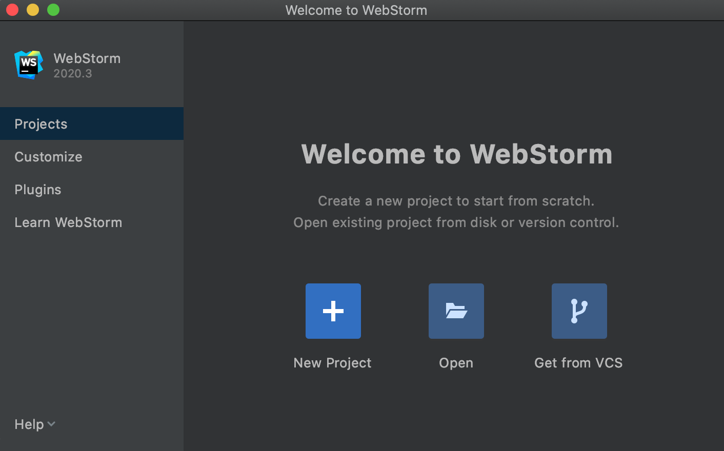 Open, check out, and create projects from the Welcome screen