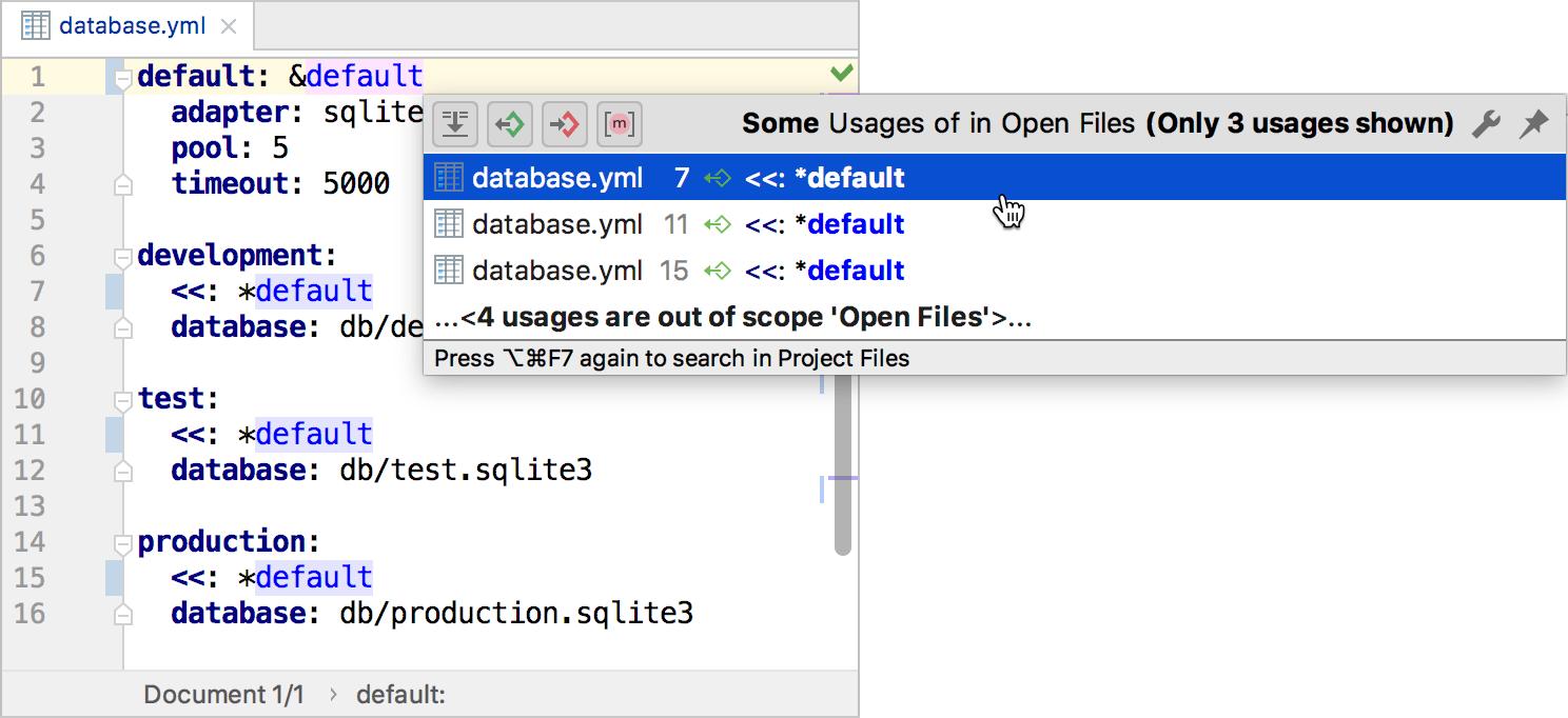 YAML: navigate to aliases