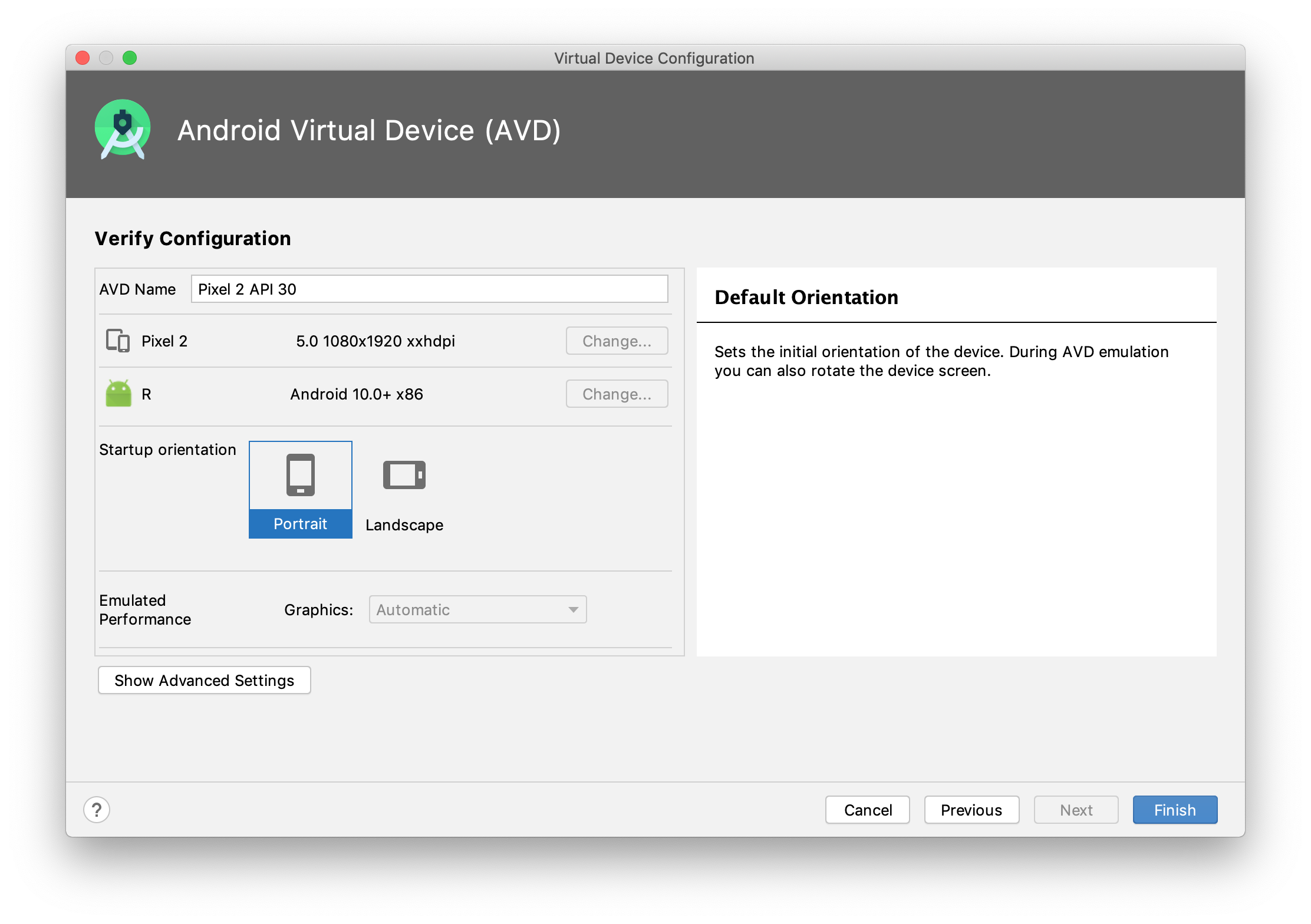 Android AVD manager step 4