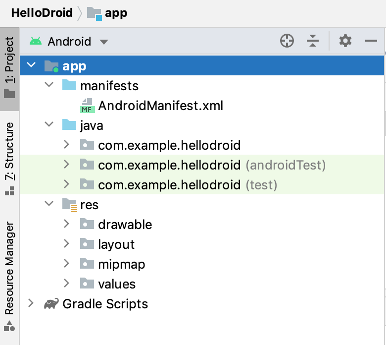 the Android project view