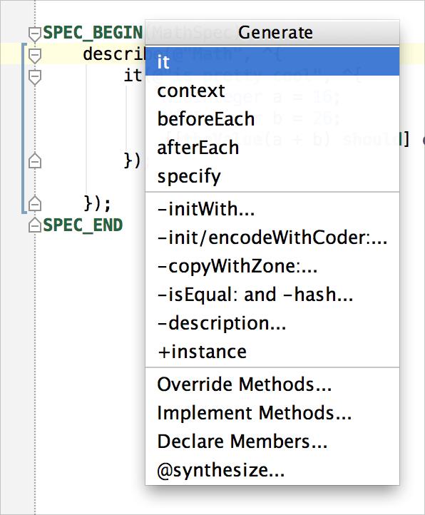 Code Generation menu for Kiwi