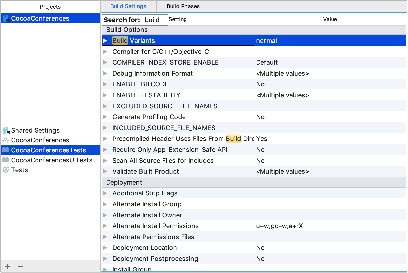 Search Xcode-compatible settings