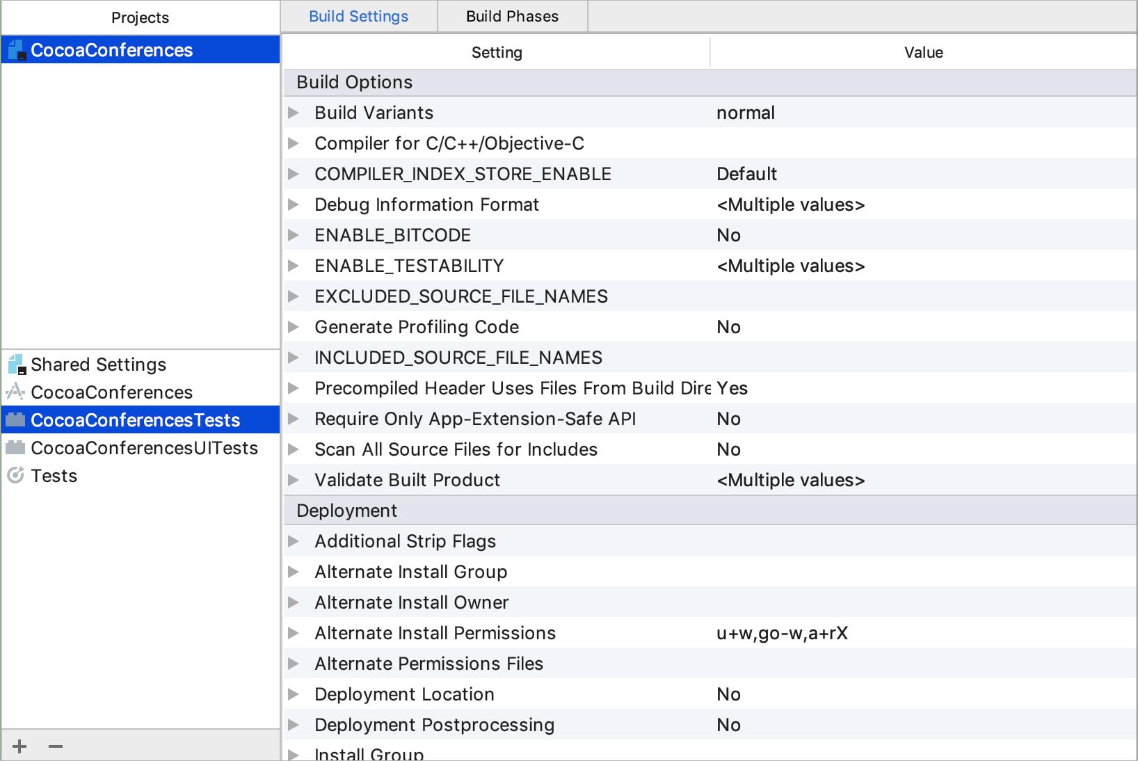 Xcode-compatible settings