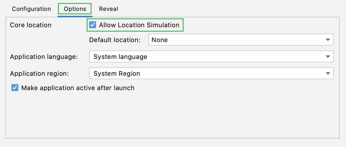 Allow location simulation