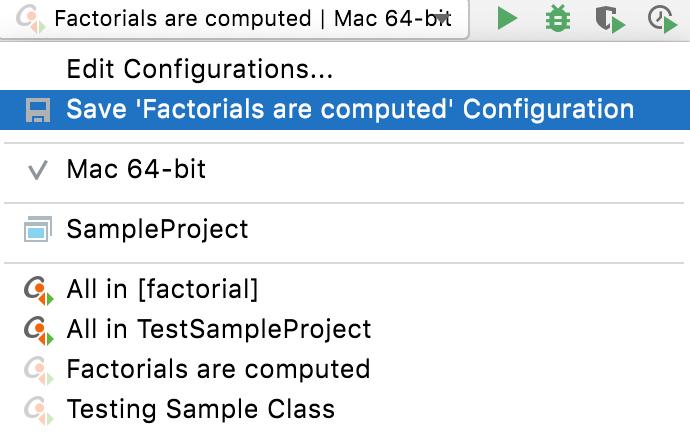 Saving temporary test configuration