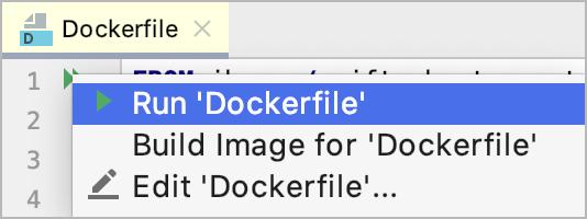 The Run on Docker popup
