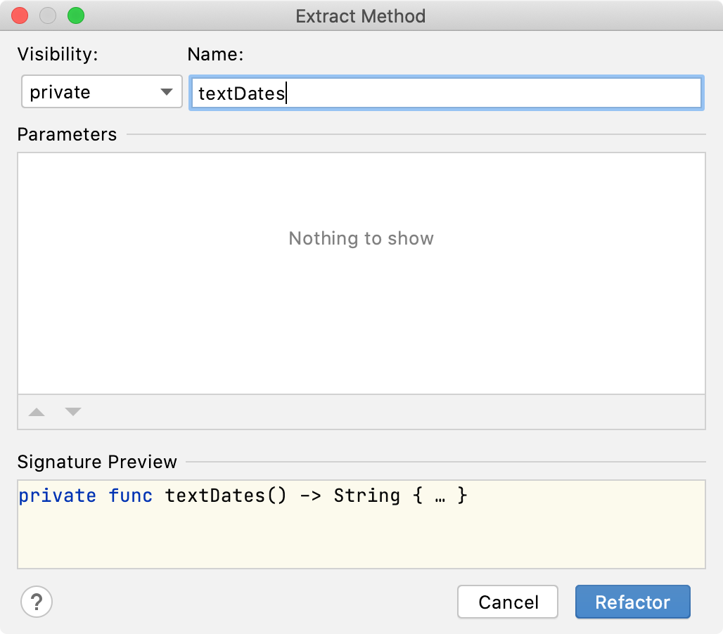 The Extract Method dialog