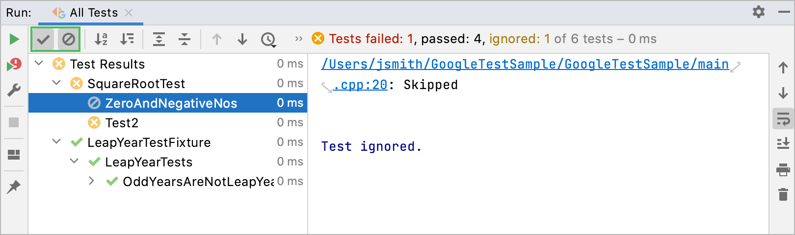 Show results of passed and skipped tests