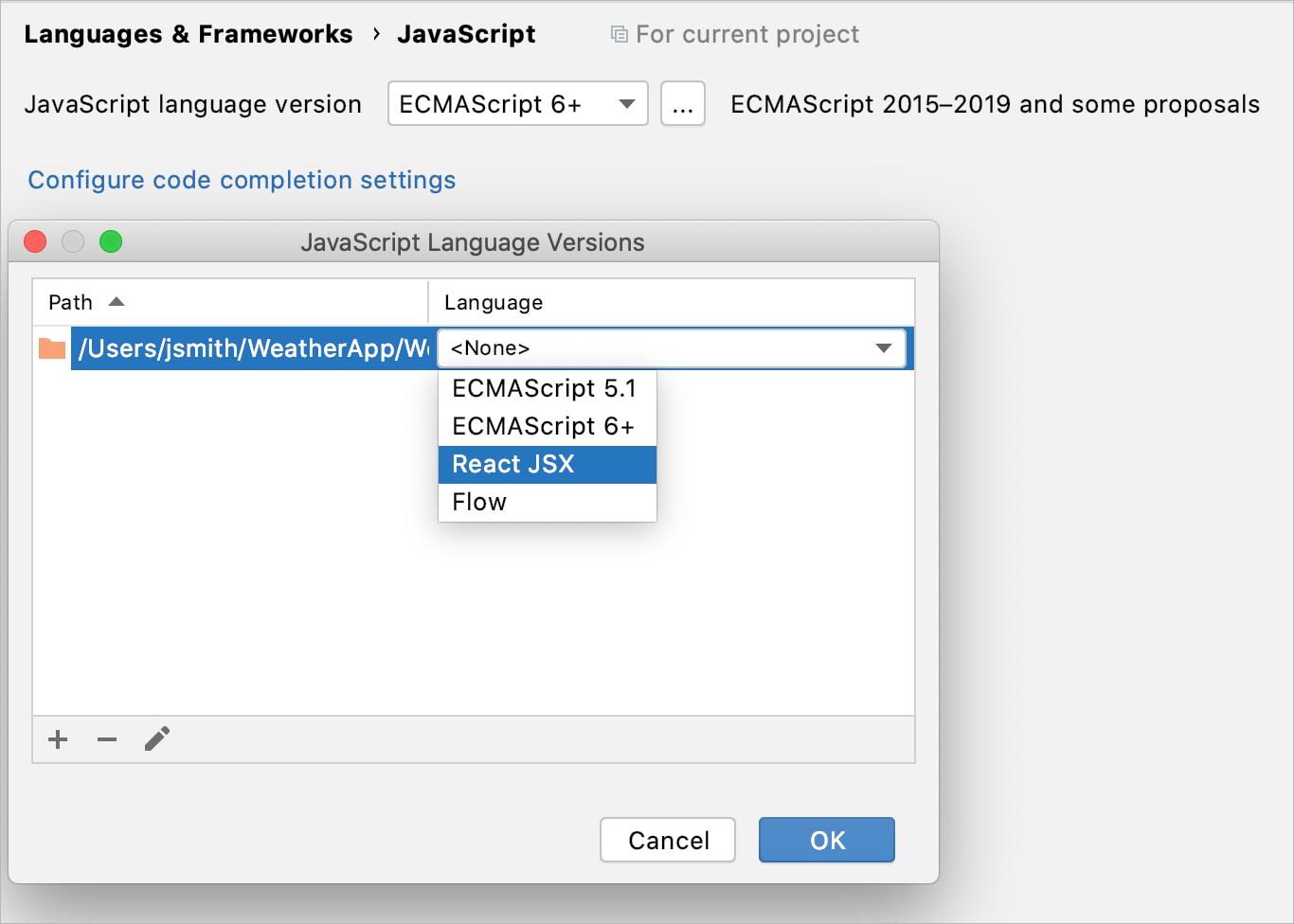 Choose JavaScript language version