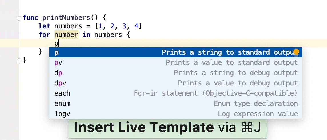 Example of using live templates