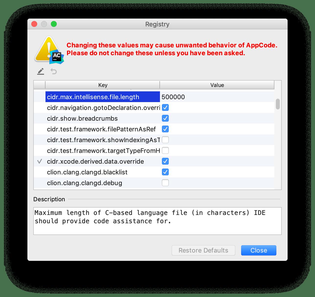 Change file size limit in Registry