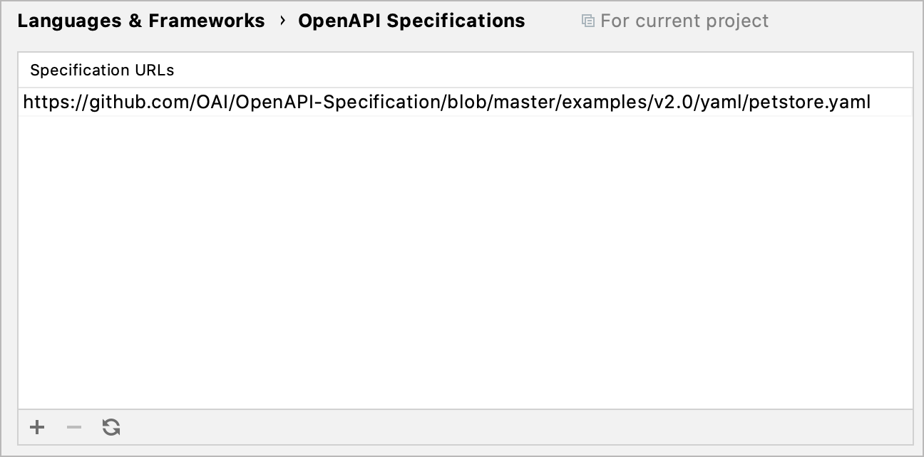 The OpenAPI Specification settings
