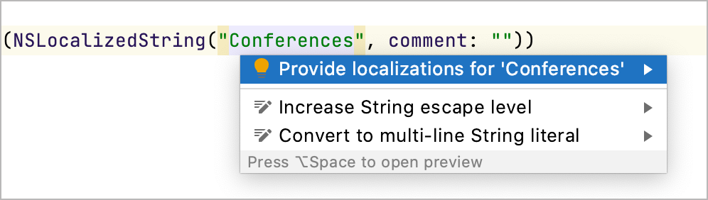 Provide localization intention action